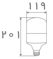 سایز لامپ حبابی استوانه ای افراتاب (3)