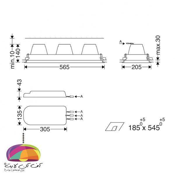 دانلايت توكار مدل اوربیتال سه خانه مازی نور (2)