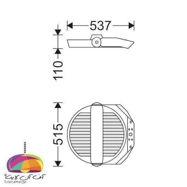 پروژکتور خیابانی زاویه پذیر مدل ساترن مازی نور (4)