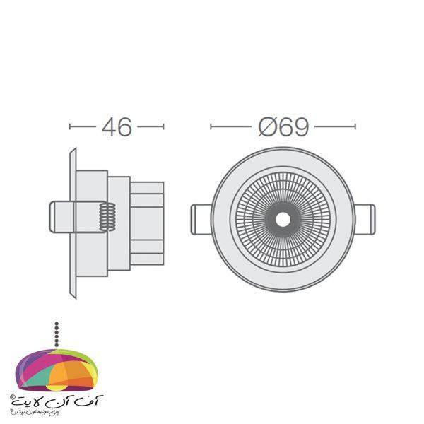 پنل توکار گرد مدل گاما گل نور (8)