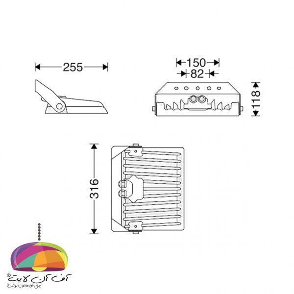 چراغ پروژكتوری مدل پلاریس (L) مازی نور (2)